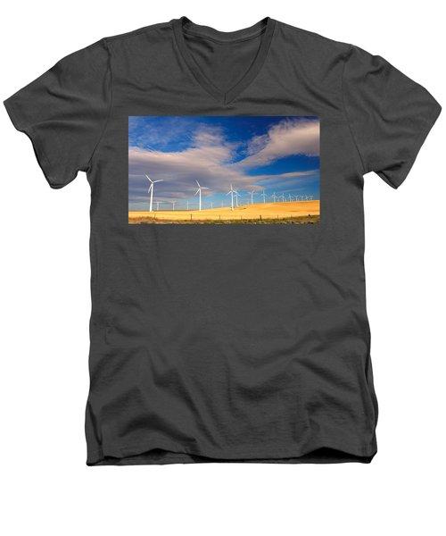 Wind Farm Against The Sky Men's V-Neck T-Shirt