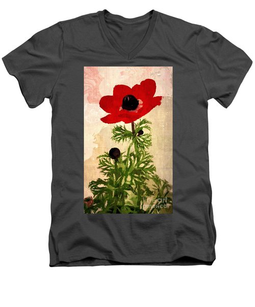 Men's V-Neck T-Shirt featuring the digital art Wind Flower by Alexis Rotella
