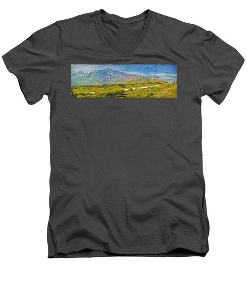 Men's V-Neck T-Shirt featuring the photograph Wind Turbine Farm Palm Springs Ca by David Zanzinger