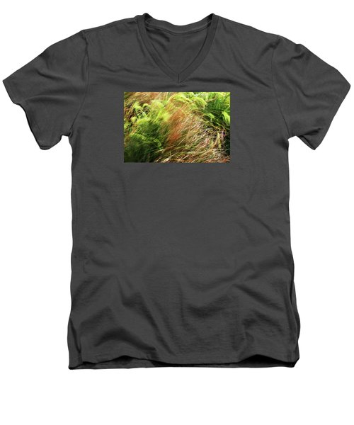 Windblown Grasses Men's V-Neck T-Shirt by Nareeta Martin