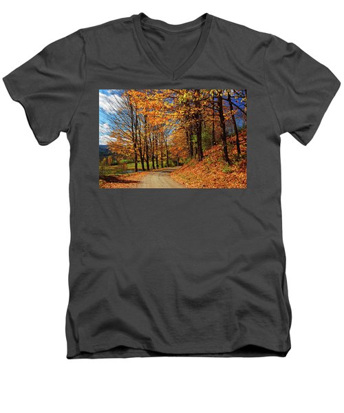 Winding Country Road In Autumn Men's V-Neck T-Shirt