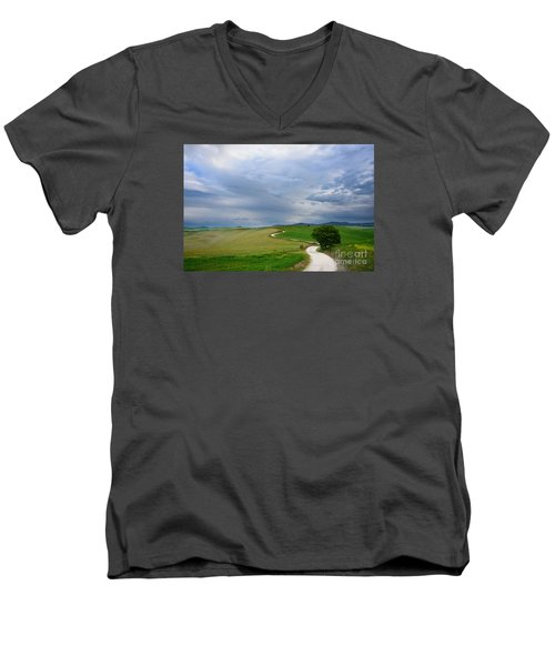 Winding Road To A Destination In A Tuscany Landscape Men's V-Neck T-Shirt by IPics Photography