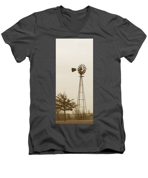 Men's V-Neck T-Shirt featuring the photograph Windmill #1 by Susan Crossman Buscho