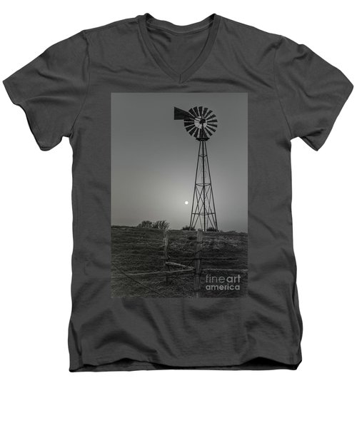 Men's V-Neck T-Shirt featuring the photograph Windmill At Dawn by Robert Frederick