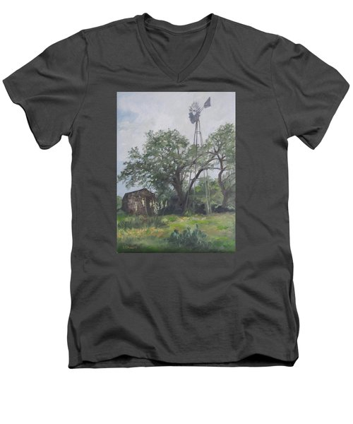 Windmill At Genhaven Men's V-Neck T-Shirt by Connie Schaertl