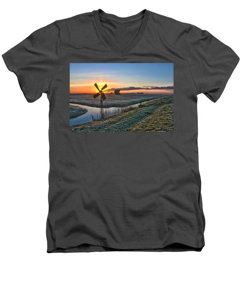 Windmill At Sunrise Men's V-Neck T-Shirt