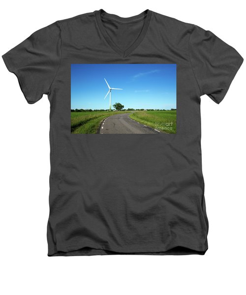 Men's V-Neck T-Shirt featuring the photograph Windmill By A Country Road Side by Kennerth and Birgitta Kullman