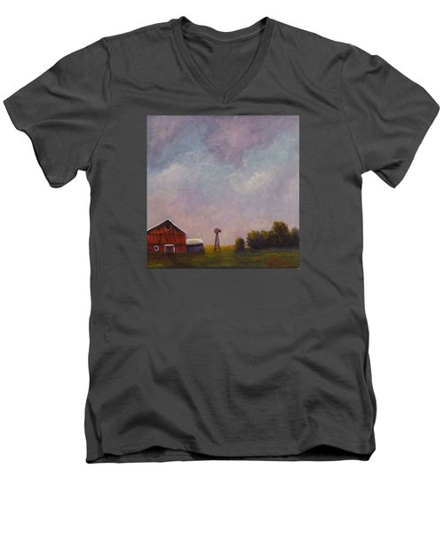 Men's V-Neck T-Shirt featuring the painting Windmill Farm Under A Stormy Sky. by Dan Wagner
