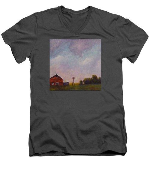 Windmill Farm Under A Stormy Sky. Men's V-Neck T-Shirt by Dan Wagner