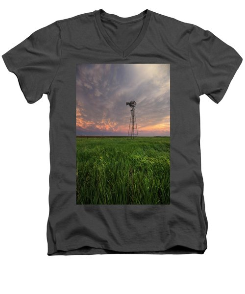 Men's V-Neck T-Shirt featuring the photograph Windmill Mammatus by Aaron J Groen