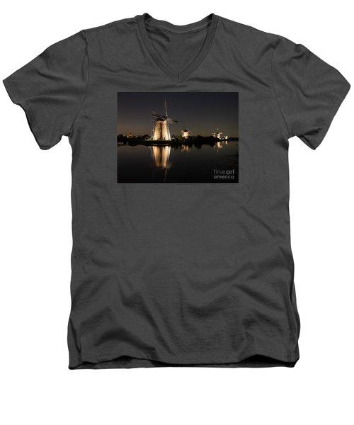 Windmills Illuminated At Night Men's V-Neck T-Shirt by IPics Photography