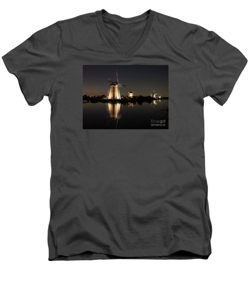 Windmills Illuminated At Night Men's V-Neck T-Shirt