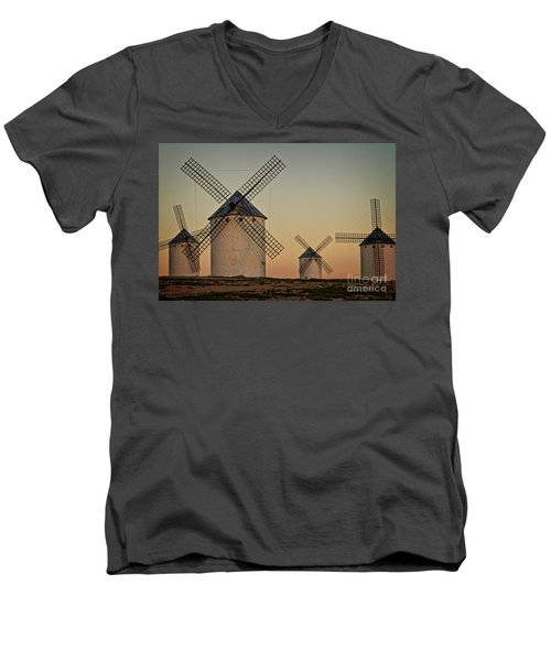 Men's V-Neck T-Shirt featuring the photograph Windmills In Golden Light by Heiko Koehrer-Wagner