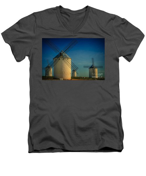 Men's V-Neck T-Shirt featuring the photograph Windmills Under Blue Sky by Heiko Koehrer-Wagner