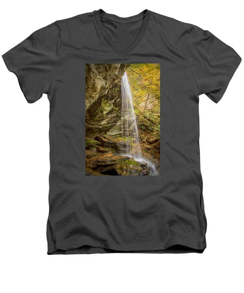 Men's V-Neck T-Shirt featuring the photograph Window Falls In The Autumn by Bob Decker