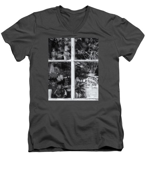 Men's V-Neck T-Shirt featuring the photograph Window In Black And White by Tom Singleton