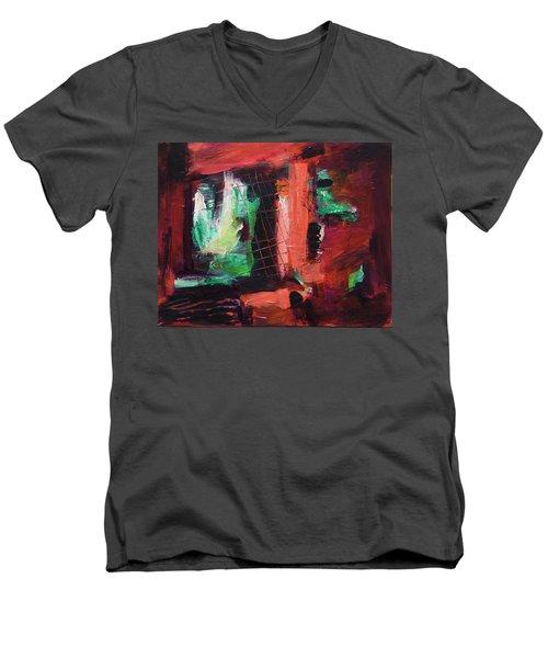Men's V-Neck T-Shirt featuring the painting Window Original Acrylic Painting by Yulia Kazansky