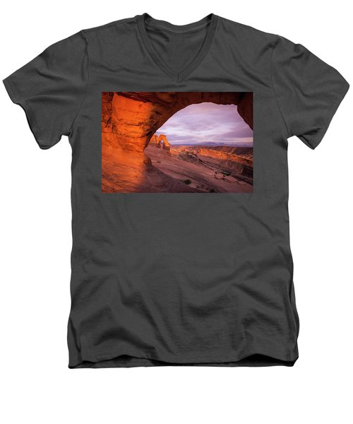 Men's V-Neck T-Shirt featuring the photograph Window To Arch by Wesley Aston