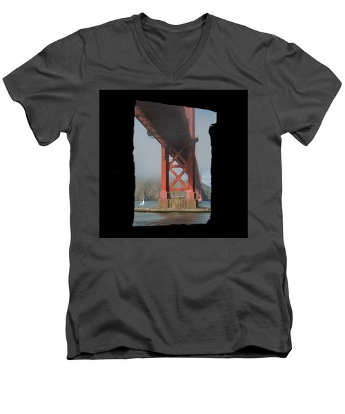 Men's V-Neck T-Shirt featuring the photograph window to the Golden Gate Bridge by Stephen Holst
