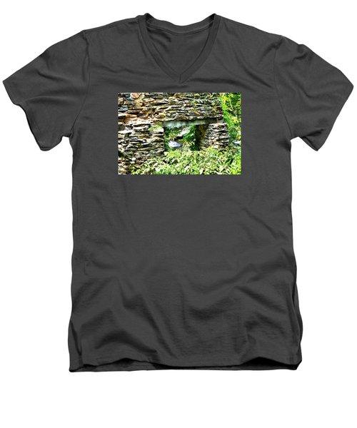 Window View Of Sope Creek Men's V-Neck T-Shirt by James Potts