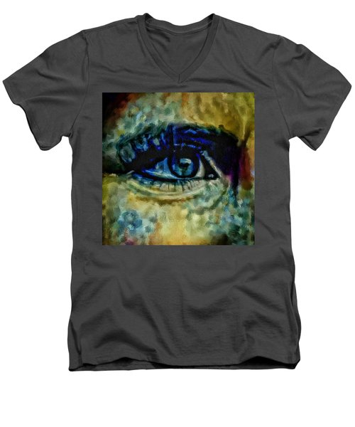 Windows Into The Soul Eye Painting Closeup All Seeing Eye In Blue Pink Red Magenta Yellow Eye Of Go Men's V-Neck T-Shirt by MendyZ