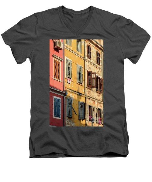 Windows Of Rovinj, Istria, Croatia Men's V-Neck T-Shirt