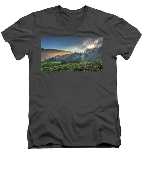 Windswept Trees On The Oregon Coast Men's V-Neck T-Shirt by Pierre Leclerc Photography