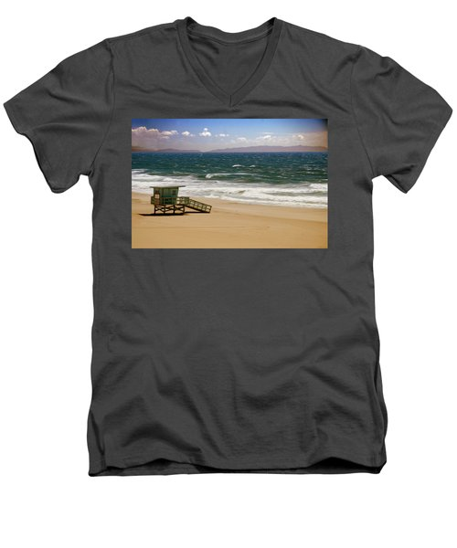 Men's V-Neck T-Shirt featuring the photograph Windy Beach Day by Joseph Hollingsworth