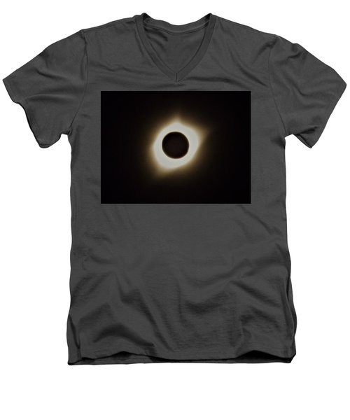 Windy Corona During Eclipse Men's V-Neck T-Shirt