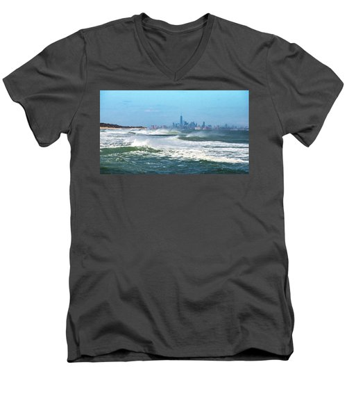 Windy View Of Nyc From Sandy Hook Nj Men's V-Neck T-Shirt
