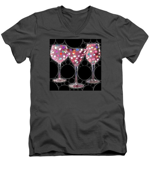 Wine Glass Art-5 Men's V-Neck T-Shirt by Nina Bradica