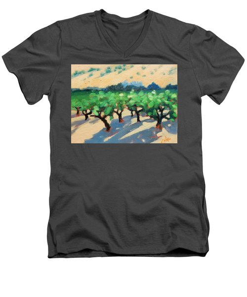 Men's V-Neck T-Shirt featuring the painting Wine Habitat by Gary Coleman