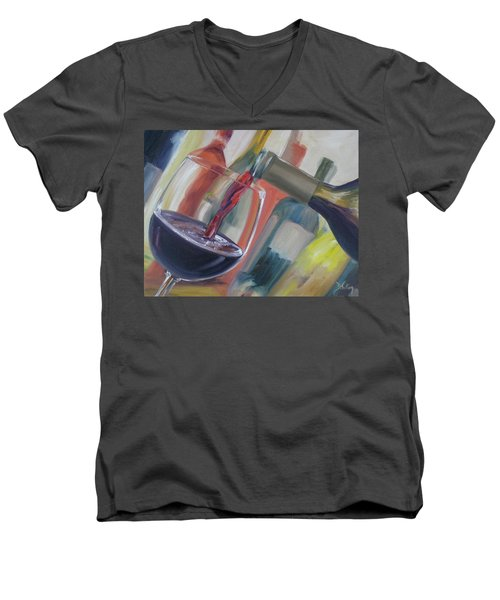 Men's V-Neck T-Shirt featuring the painting Wine Pour by Donna Tuten