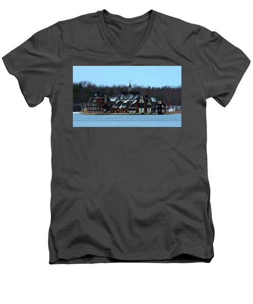 Snow On Boldt Castle Yacht House Men's V-Neck T-Shirt