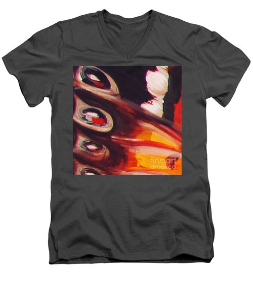 Men's V-Neck T-Shirt featuring the painting Wing Eyes by Art Ina Pavelescu