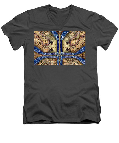 Winged Anubis Men's V-Neck T-Shirt by Jim Pavelle