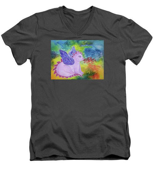 Men's V-Neck T-Shirt featuring the painting Winged Dragon by Ellen Levinson