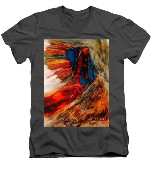 Men's V-Neck T-Shirt featuring the painting Winged Ones by FeatherStone Studio Julie A Miller