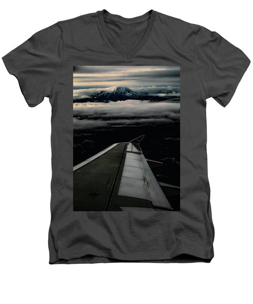 Wings Over Rainier Men's V-Neck T-Shirt by Jeffrey Jensen