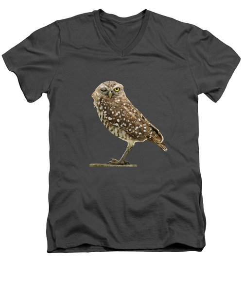Men's V-Neck T-Shirt featuring the photograph Winking Owl by Bradford Martin