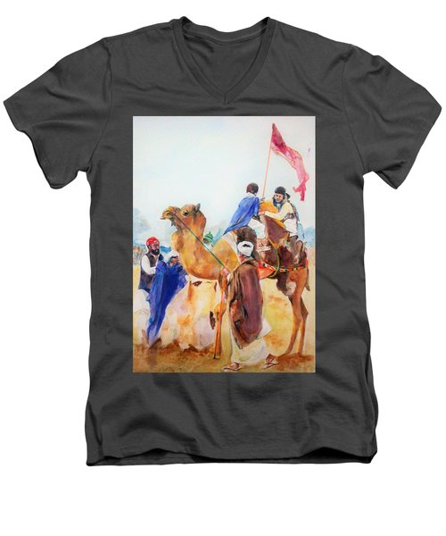 Winning Celebration Men's V-Neck T-Shirt by Khalid Saeed