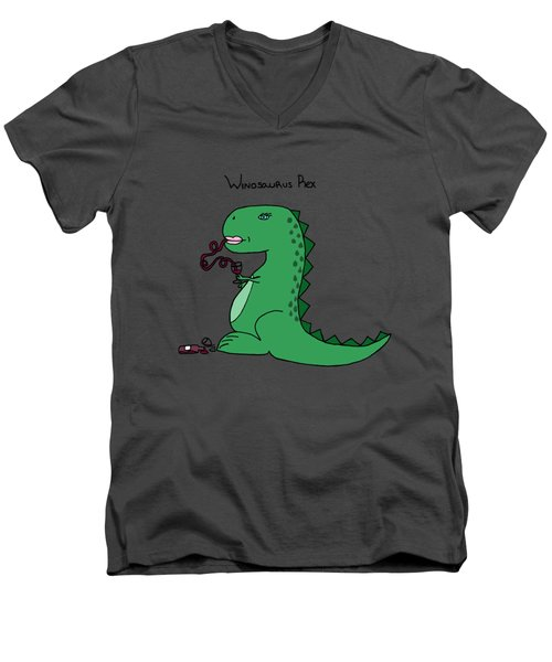 Winosaurus Rex Men's V-Neck T-Shirt by Tamera Dion
