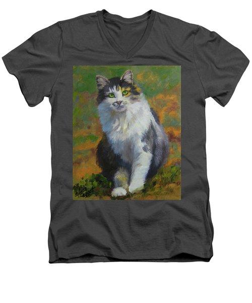 Winston Cat Portrait Men's V-Neck T-Shirt by Alice Leggett