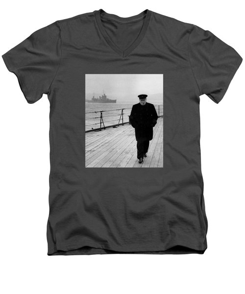 Winston Churchill At Sea Men's V-Neck T-Shirt