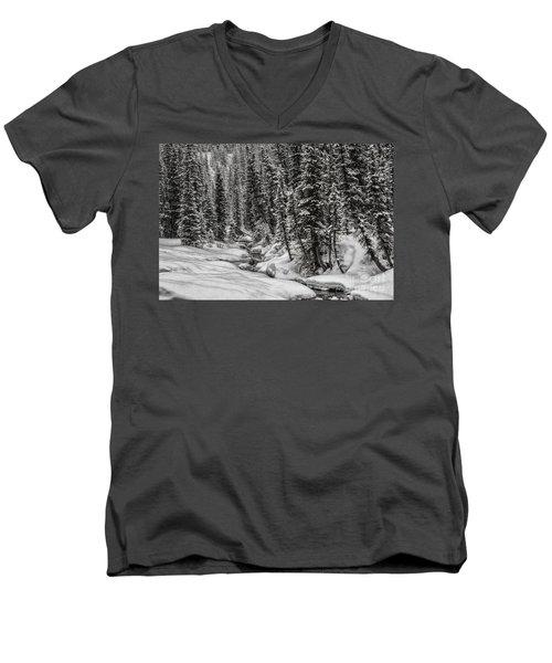 Winter Alpine Creek II Men's V-Neck T-Shirt by Brad Allen Fine Art