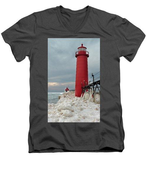 Winter At Grand Haven Lighthouse Men's V-Neck T-Shirt