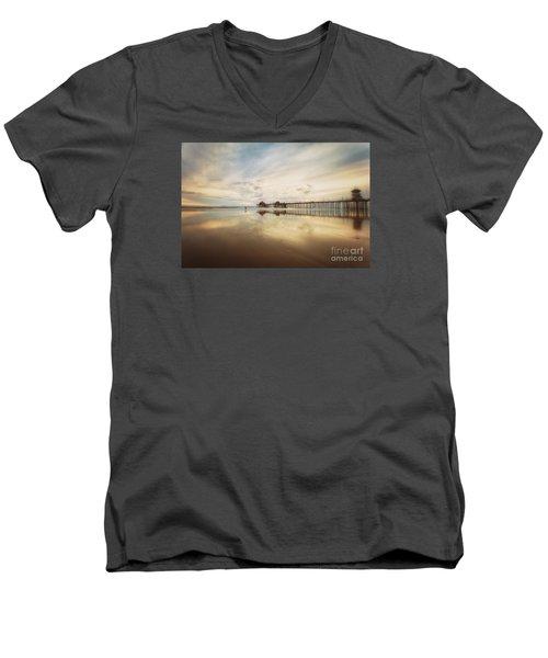 Winter At Huntington Beach Pier Men's V-Neck T-Shirt