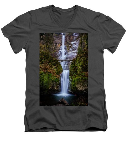 Winter At Multnomah Falls 2 Men's V-Neck T-Shirt