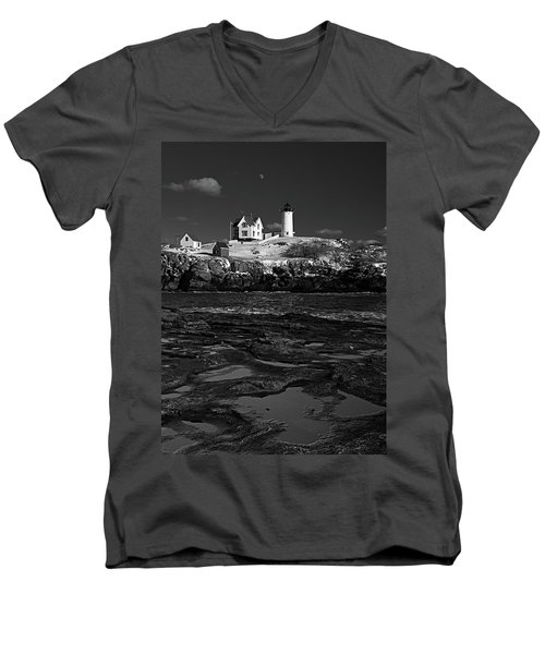 Winter At Nubble Lighthouse Bw Men's V-Neck T-Shirt