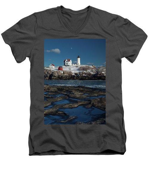 Winter At Nubble Lighthouse Men's V-Neck T-Shirt